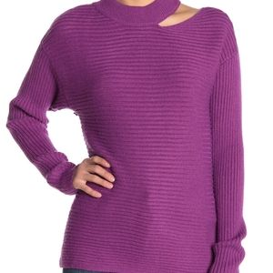 Dee elly NWT cut out  ribbed purple sweater small
